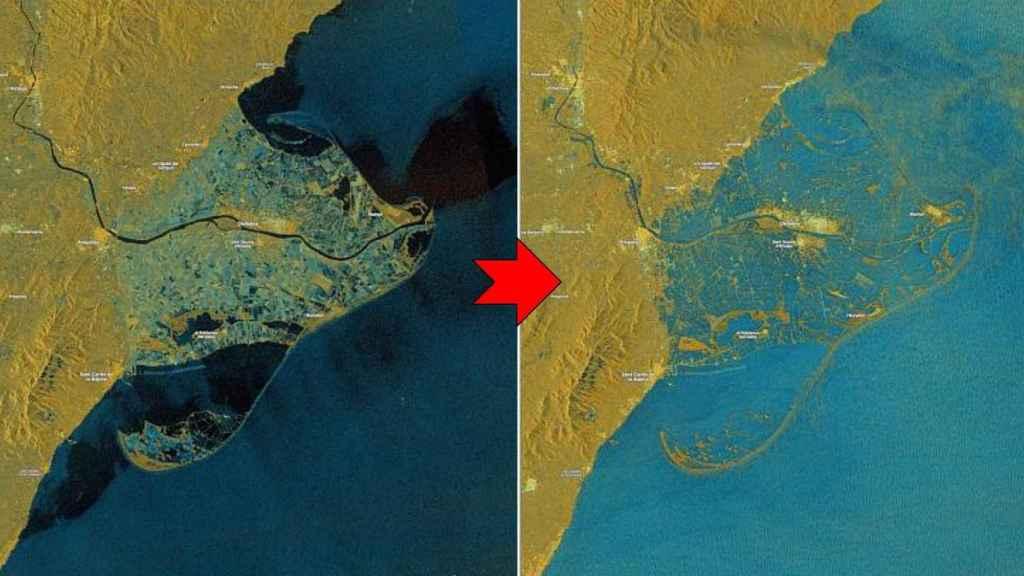 El Delta del Ebro, anegado en las imágenes del satélite Sentinel del proyecto Copernicus de la UE.