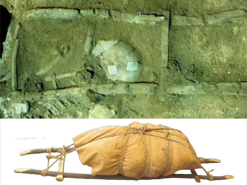 Una de las dos parihuelas halladas en el yacimiento y su reconstrucción digital.