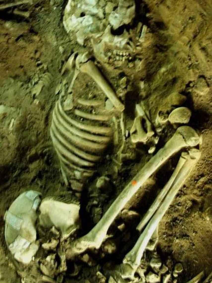 Uno de los cuerpos de los 66 individuos, en posición fetal.