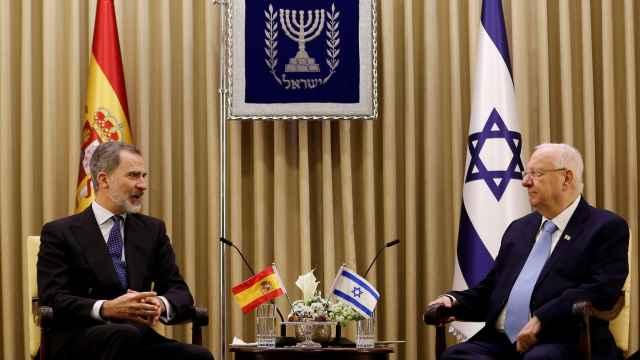 El rey Felipe VI junto al presidente israelí Reuven Rivlin en Jerusalén.