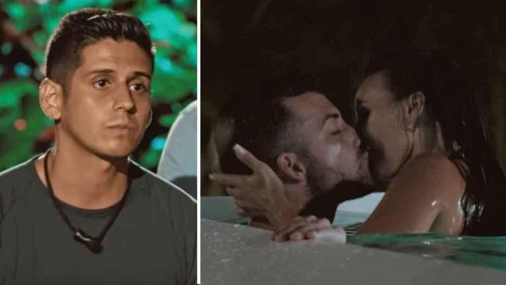 Christofer observando las imágenes de su novia mientras se besa con Rubén Sánchez.