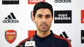 Mikel Arteta, durante la rueda de prensa