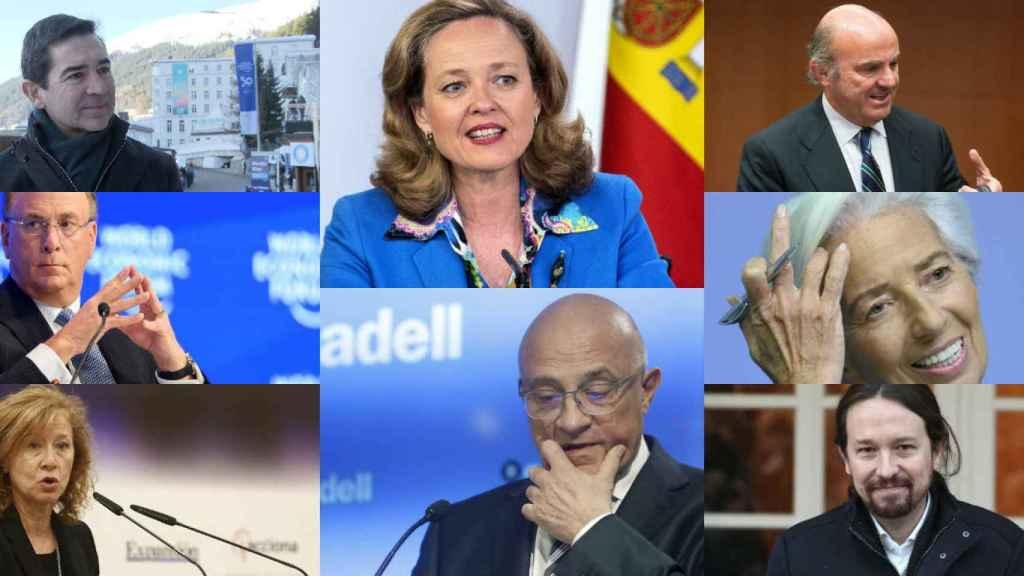 Carlos Torres, Nadia Calviño, Luis de Guindos, Larry Fink, Josep Oliú, Chrstine Lagarde, Margarita Delgado y Pablo Iglesias.