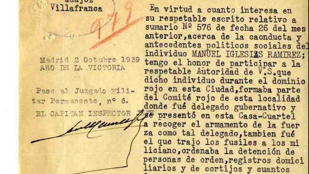 Sobre que Manuel Iglesias ordenaba la detención y ejecución de gente.