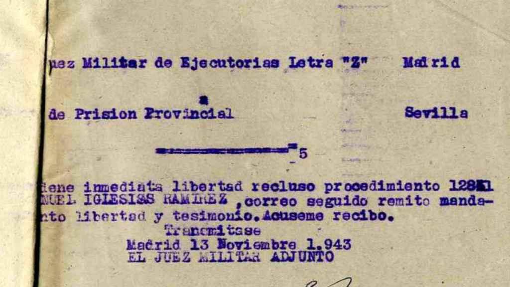 Orden de puesta en libertad de Manuel Iglesias.