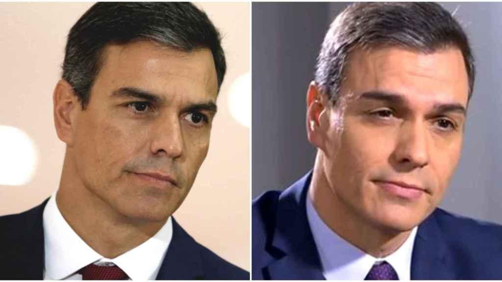 El antes y el después de la cejas de Pedro Sánchez, en un montaje de JALEOS.