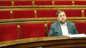 Junqueras, en el Parlament de Cataluña./