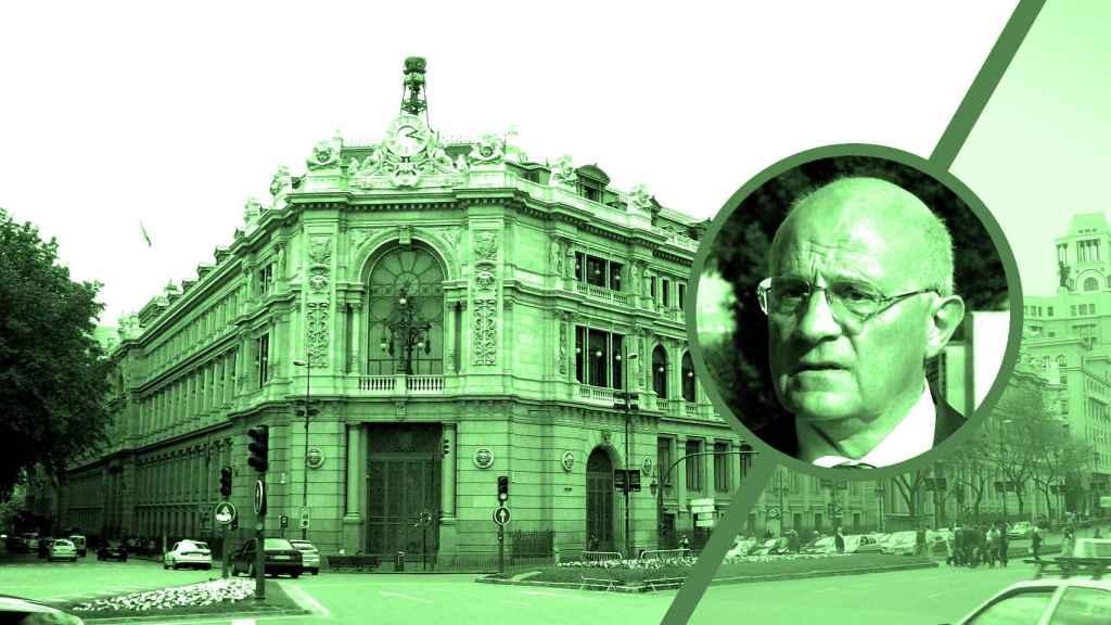 La sede del Banco de España al fondo junto al retrato de Josep Oliu, presidente del Banco Sabadell.