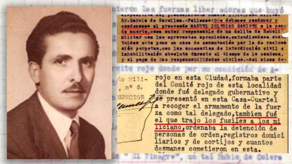 Manuel Iglesias, junto a extractos del sumario al que ha tenido acceso EL ESPAÑOL.