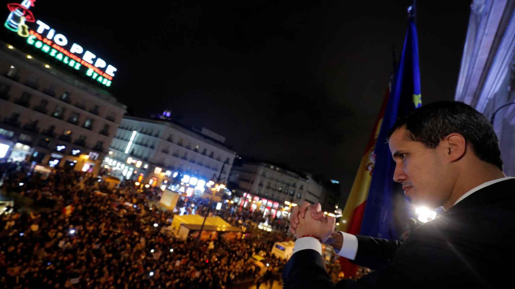 Guaidó este sábado en la Puerta del Sol en Madrid