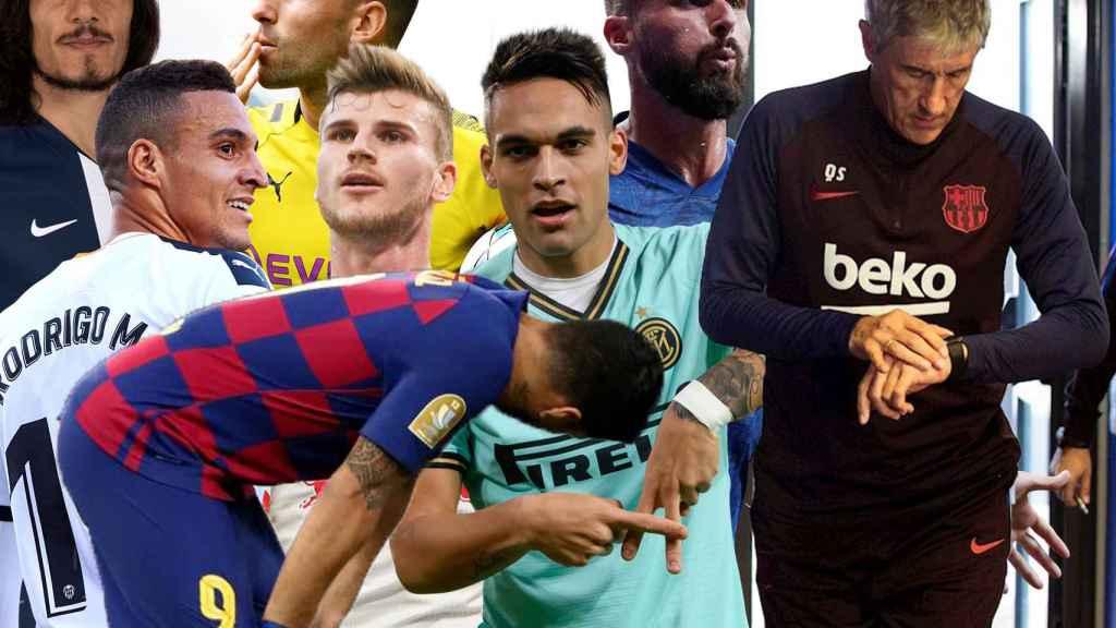 Edinson Cavani, Rodrigo Moreno, Luis Suárez, Paco Alcácer, Timo Werner, Lautaro Martínez, Olivier Giroud y Quique Setién
