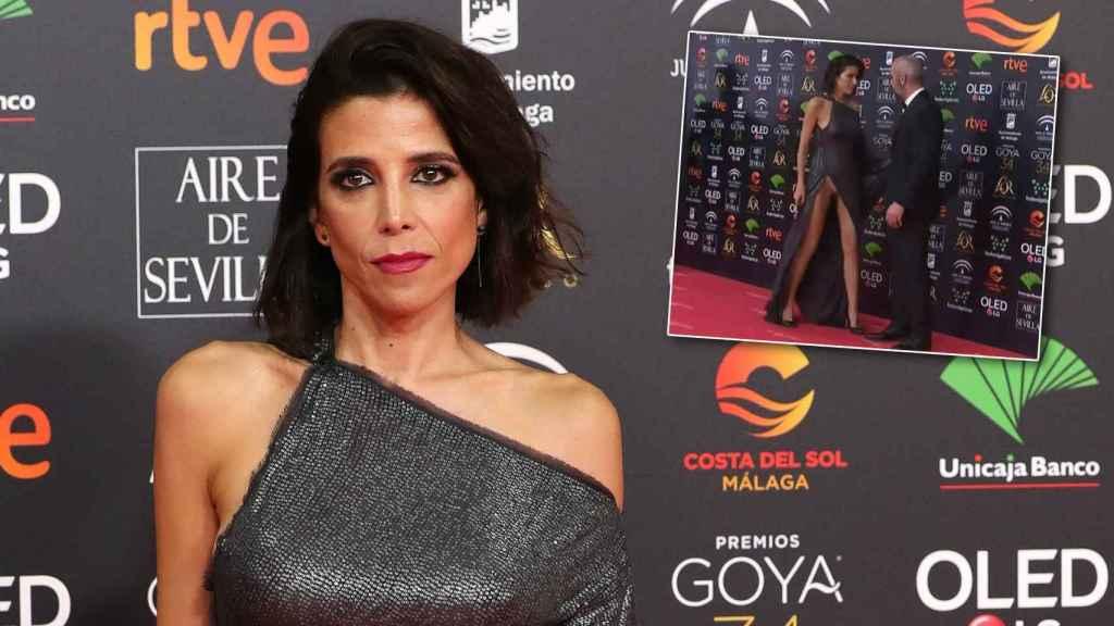 Montaje de JALEOS con María Luisa Mayol y el momento en el que el vestido le juega una mala pasada.
