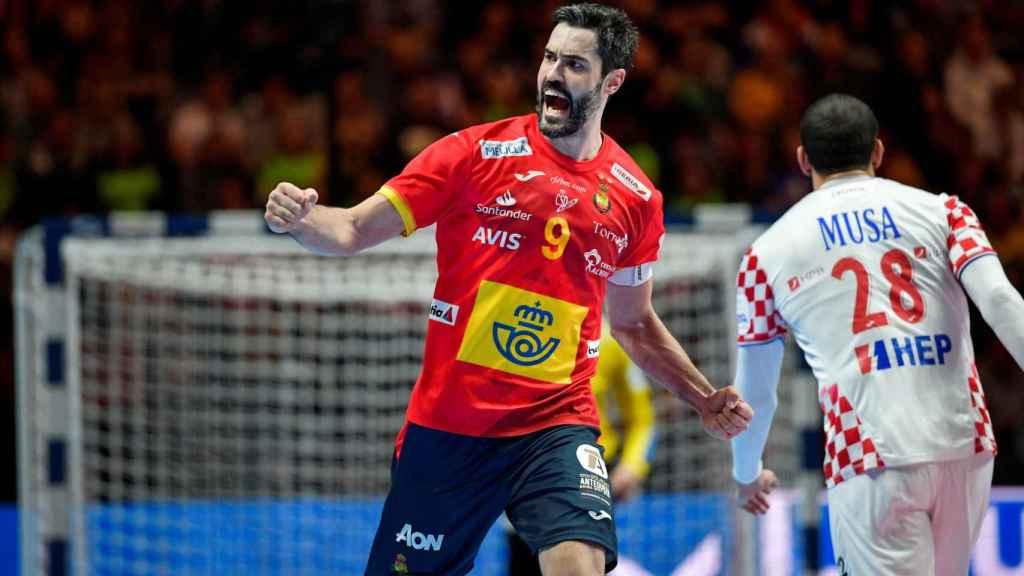 Raúl Entrerríos, en la final del Europeo de balonmano masculino entre Croacia y España