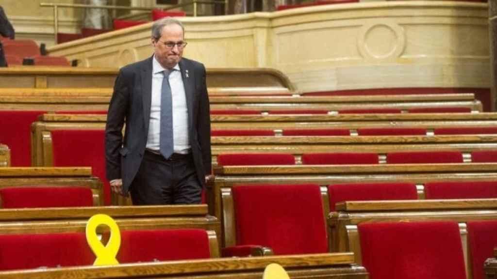 Quim Torra. en el Parlament de Cataluña.