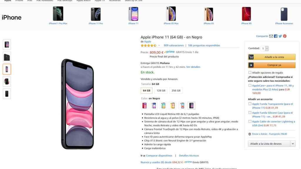 Página del iPhone 11 en Amazon