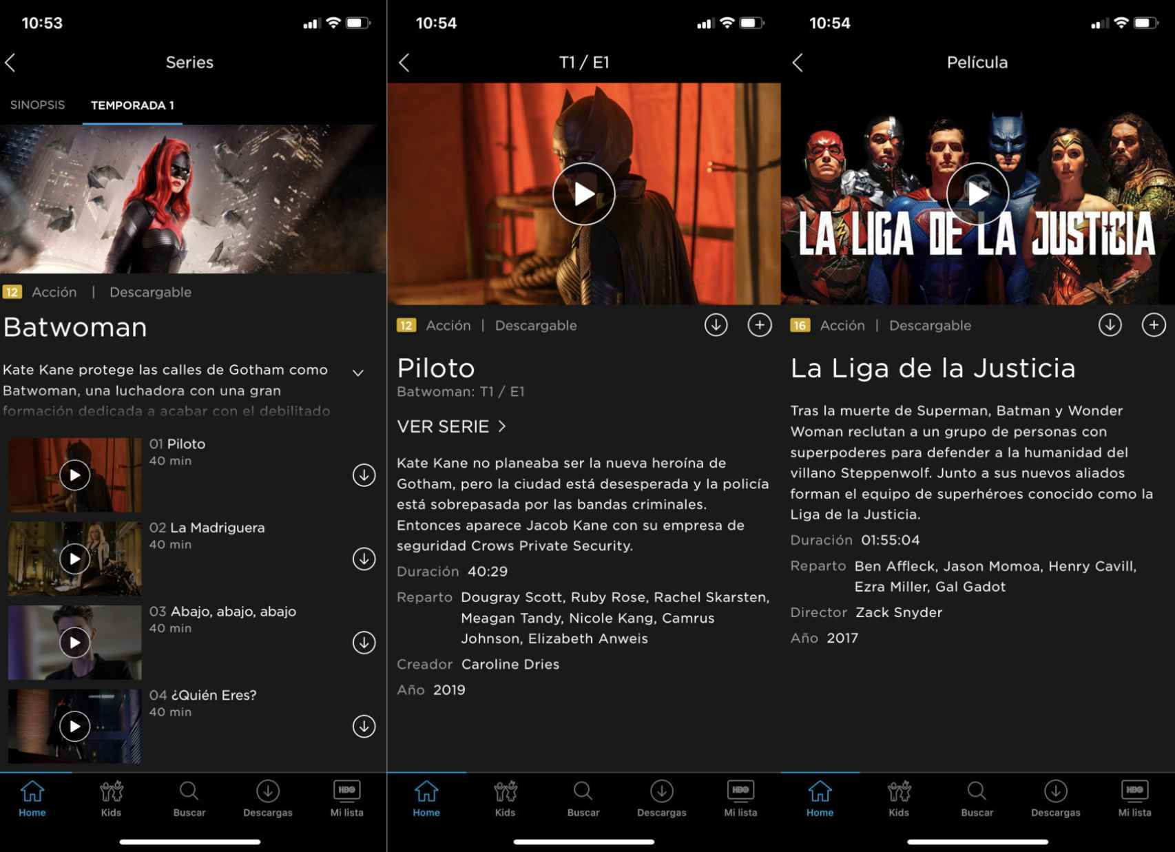 Función de descarga en la app de HBO