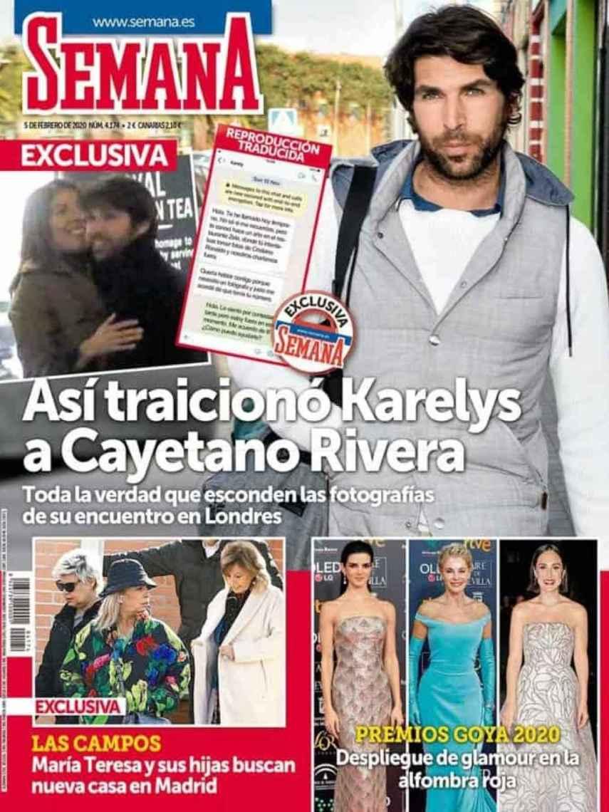 Revista 'Semana' de este miércoles donde se desvelan los mensajes de Karelys y el paparazzi.