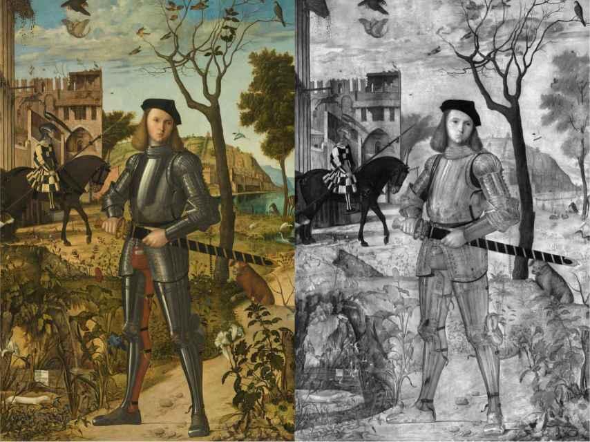 El original de 'Joven caballero en un paisaje' y una fotografía del cuadro con luz inflarroja.
