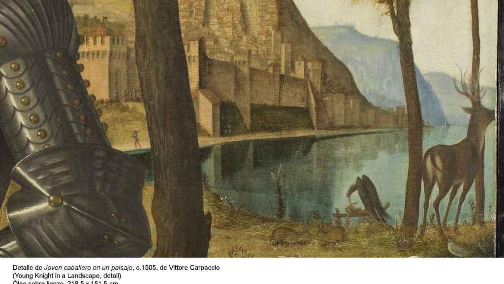 Detalle de la ciudad del paisaje y del ciervo.