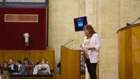 Susana Díaz, este martes en el Parlamento de Andalucía.
