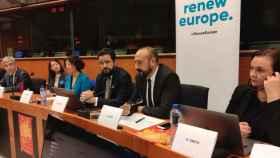 El eurodiputado de Cs Jordi Cañas durante el coloquio celebrado en el Parlamento Europeo.