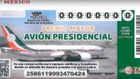 Billete para el sorteo del avión destinado al presidente de México.