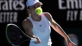 Simona Halep durante la semifinal del Open de Australia 2020 ante Garbiñe Muguruza
