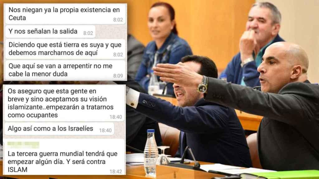 Algunos de los dirigentes de Vox en Ceuta que forman parte del grupo de Whatsapp.