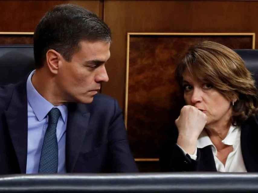 Delgado, con el presidente del Gobierno, Pedro Sánchez, cuando era ministra de Justicia./