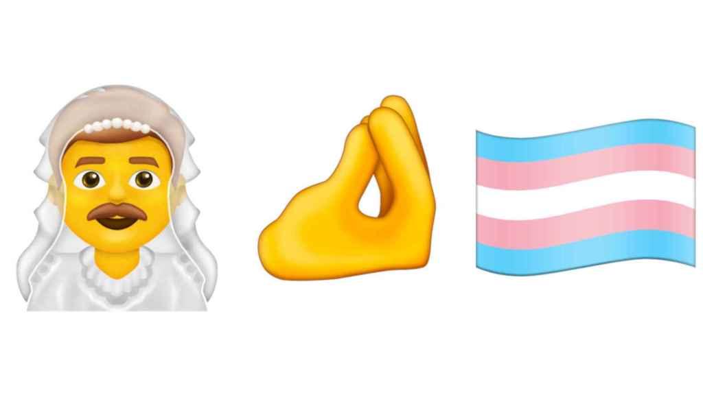 Emoji de hombre con velo, dedos pellizcados y bandera trans, nuevos para 2020