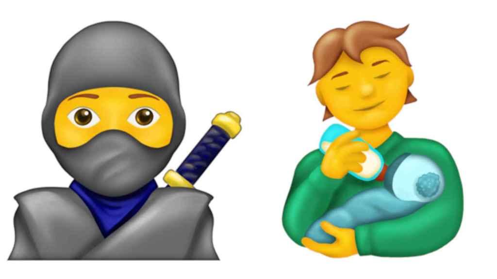 Emoji del ninja y de la persona dando el biberón a un bebé