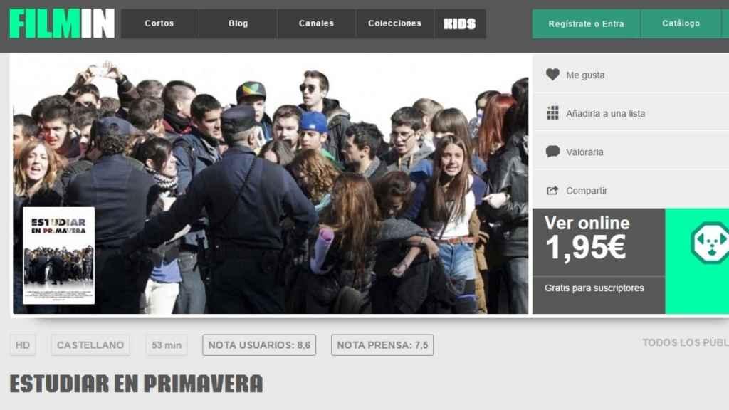 Imagen de  la portada de la plataforma Filmin.