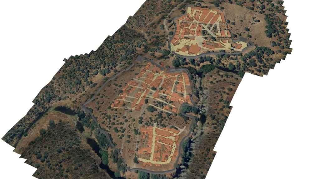 Reconstrucción digital del castro de Villasviejas, con el campamento militar romano en la parte superior derecha.