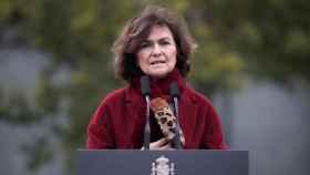 Carmen Calvo en la inauguración del Memorial en homenaje a los españoles deportados en Mauthausen este viernes.