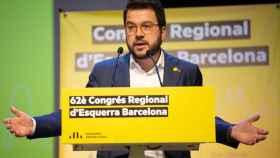 Intervención de Pere Aragonès durante el congreso de la Federación de Barcelona de ERC.