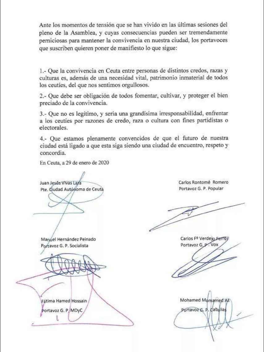 Escrito institucional por la convivencia firmado por las cinco formaciones políticas y el presidente de la Ciudad. .