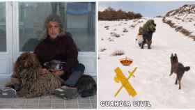 Francisco G. con sus perras Yaiza y Mar. A la derecha, una imagen del rescate.