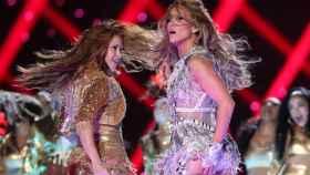 Shakira y Jennifer Lopez, durante la actuación en el intermedio de la Super Bowl