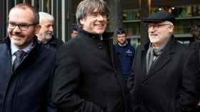 Carles Puigdemont y Lluis Puig , tras la última vista de la euroorden