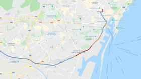 Google Maps mostrando el tráfico en directo en Barcelona