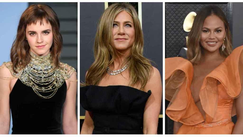 Emma Watson, Jennifer Aniston y Chrissy Teigen en montaje de JALEOS.