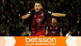 El Mirandés celebra un gol en la Copa del Rey
