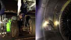 Estado de la rueda y el motor dañados en el vuelo de Air Canada.