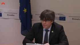 Carles Puigdemont en la comisión del 155 en el Parlament.