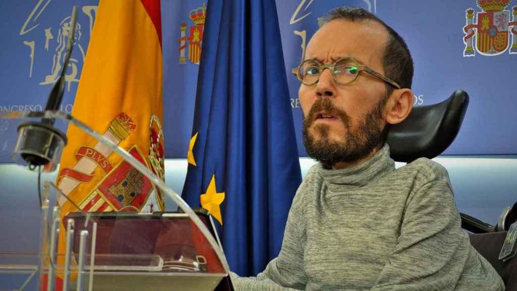 Pablo Echenique, portavoz de Unidas Podemos en el Congreso, en rueda de prensa.