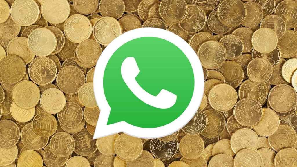 Montaje del icono de Whatsapp en monedas.