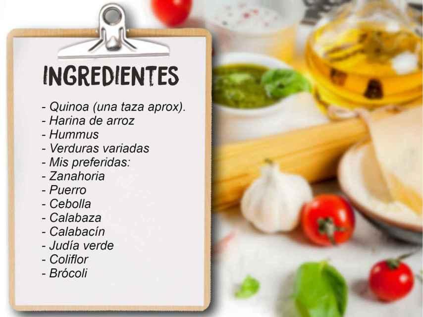 Ingredientes de las hamburguesas de quinoa de Carola Baleztena.