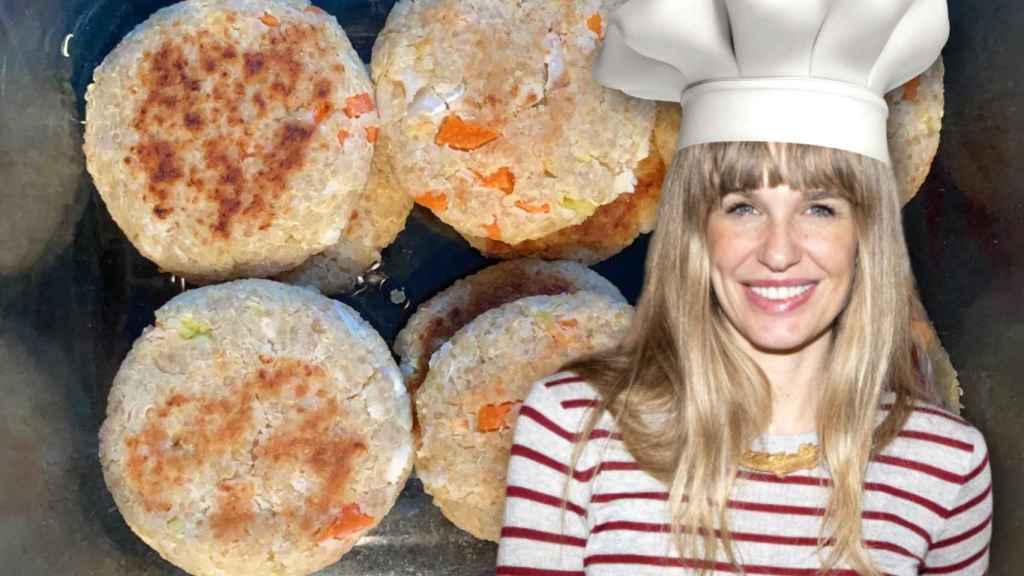 Carola Baleztena con sus hamburguesas de quinoa en un montaje de Jaleos.