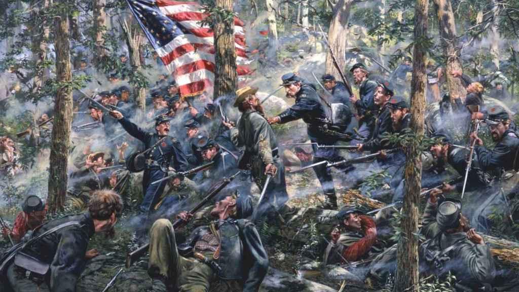 Una escena de la batalla de Gettysburg, pintada por el artista Don Troiani.