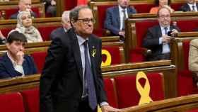 El presidente de la Generalitat, Quim Torra, en el Parlament de Cataluña.